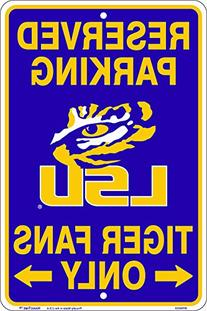 LSU Tiger Fans Reserved Parking Sign Metal 8 x 12 embossed