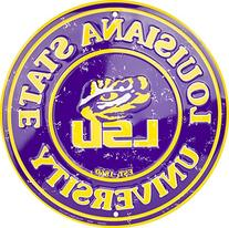 LSU Tigers 12 Inch Embossed Metal Nostalgia Circular Sign