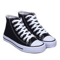 LUCLUC Black Flat Canvas Shoes