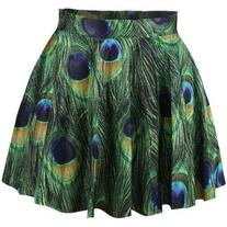 LUCLUC Green Peacock Printed Skater Skirt