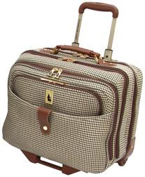 London Fog Luggage Chelsea 17 Inch Computer Bag, Olive Plaid