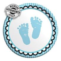 7 inch Lunch Plates Sweet Baby Feet Blue 96 Ct