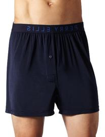 Perry Ellis Men's Luxe Solid Boxer, Navy, Large
