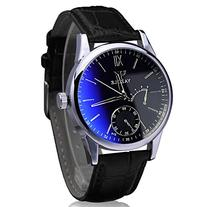 DDLBiz Luxury Fashion Faux Leather Mens Blue Ray Glass