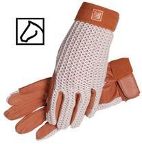 SSG Lycrochet Ultraflex Riding Gloves - Natural/Brown -