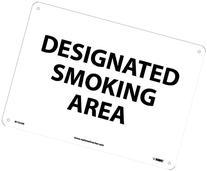 """NMC M102RB No Smoking Sign, """"DESIGNATED SMOKING AREA"""", 14"""""""