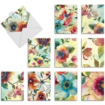 M3314 Watercolor Botanicals: 10 Assorted Blank All-Occasion