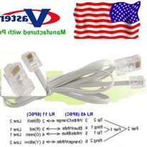 Made in USA Telephone RJ11 6P4C to RJ45 8P8C Connector Plug