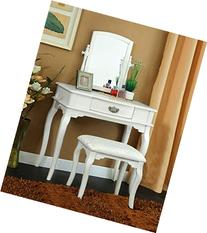 1PerfectChoice Madera Makeup Bedroom Vanity Set Table w/