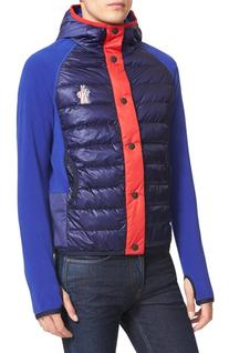 Men's Moncler Maglia Quilted Down Front Hooded Cardigan,