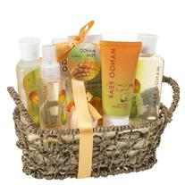 Mango Pear Spa Gift Set Woven Antique Basket,Shower Gel,