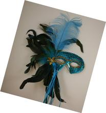Mardi Gras Masquerade Feather Costume Stick Mask or Table