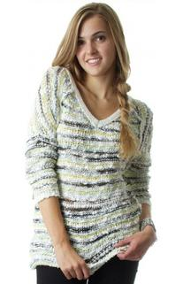 Free People Marled Songbird Yarn Pullover in Ivory Combo