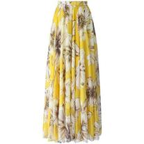 Chicwish Marvelous Floral Maxi Skirt in Yellow