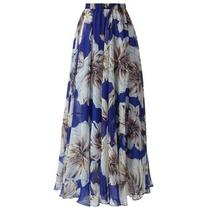 Chicwish Marvelous Floral Maxi Skirt in Blue