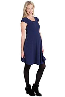 Ripe Maternity Cap Sleeve Skater Dress - Navy - Large