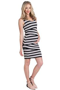 Ripe Maternity Criss Cross Stripe Dress - Black/Peony Stripe
