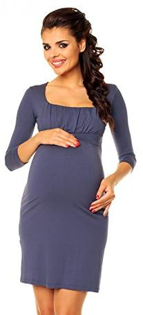 Zeta Ville - Women's Maternity Empire Waist Ruched Stretch