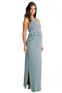 Ripe Maternity Striped Side Tie Maxi Dress - Spearmint/