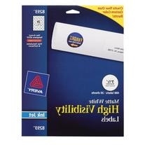 Avery High-Visibility Labels 8293, Matte White, 400/Box