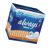 Always Maxi Overnight Pads Without Wings, 72 Count