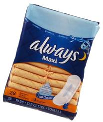 Always Maxi Overnight Without Wings Unscented Pads 28 CT