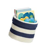 mDesign Hand Knit Round Toy Storage Organizer Basket Bin for