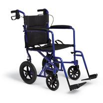 Medline MDS808210ABE Aluminum Transport Chair with 12""