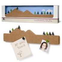 Memo Mountain Brown Message Cork Board with 9 Tree Push Pins