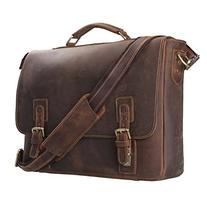 S-ZONE Men's Crazy-Horse Leather Business Briefcase shoulder