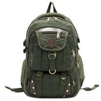 kaukko mens canvas backpacks for laptops Olive Green