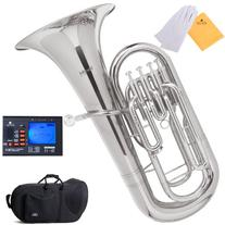 Mendini MEP-N Nickel Plated B Flat Euphonium with Stainless