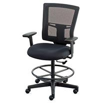 Mesh Back Drafting Stool with Footring PM01 Black Mesh Back/
