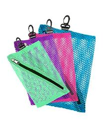 Vaultz Mesh Storage Bags, 4 Pack, Assorted Colors and Sizes