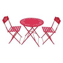 Alpine Metal Folding Bistro Set with Two Chairs - Red