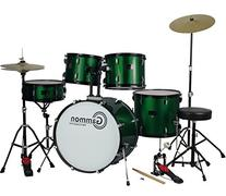 New Metallic Green Drum Set Full Size 5-Piece Kit with