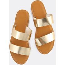 59cf09216838 Metallic Duo Strap Sandals GOLD
