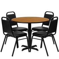 MFO 36'' Round Black Laminate Table Set with 4 Black