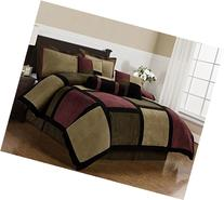 Chezmoi Collection Micro Suede Patchwork 7-Piece Comforter