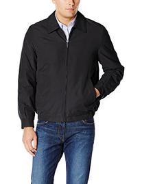 Perry Ellis Men's Microfiber Shirt Collar Jacket, Black,