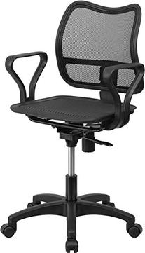 Mid Back Black Mesh Swivel Task Chair with Leather Padded