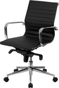 Mid-Back Black Ribbed Upholstered Leather Conference Chair