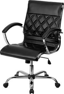 Flash Furniture Mid-Back Designer White Leather Executive