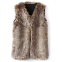 Chicwish Mid-Length Brown Faux Fur Vest
