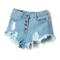 Aisa Womens Blue Mid Waist Ripped Hole Short Jeans Denim