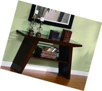 Midori Cherry Brown Sofa Table With Glass Top By Crown Mark