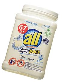 all Mighty Pacs Laundry Detergent, Free Clear, 67 Count
