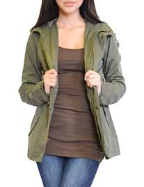 Azkara Women's Militray Anorak Drawstring Parka Jacket with