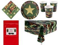 Military Camouflage Soldier Decorations Tableware Boy's or