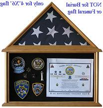 Military Shadow Box Flag Display Case Stand for 4' X 6' Flag